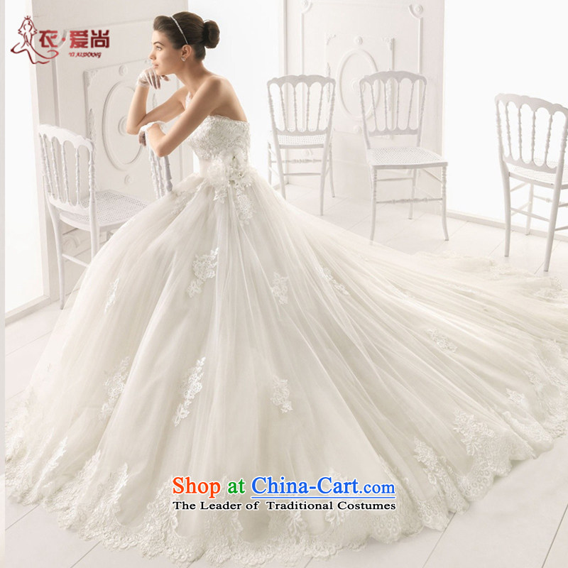 Yi love still wedding dresses Summer 2015 New Product bride wedding custom upscale shoulder marriage wedding dresses and sexy Korean long tail lace white upscale marriage white�L