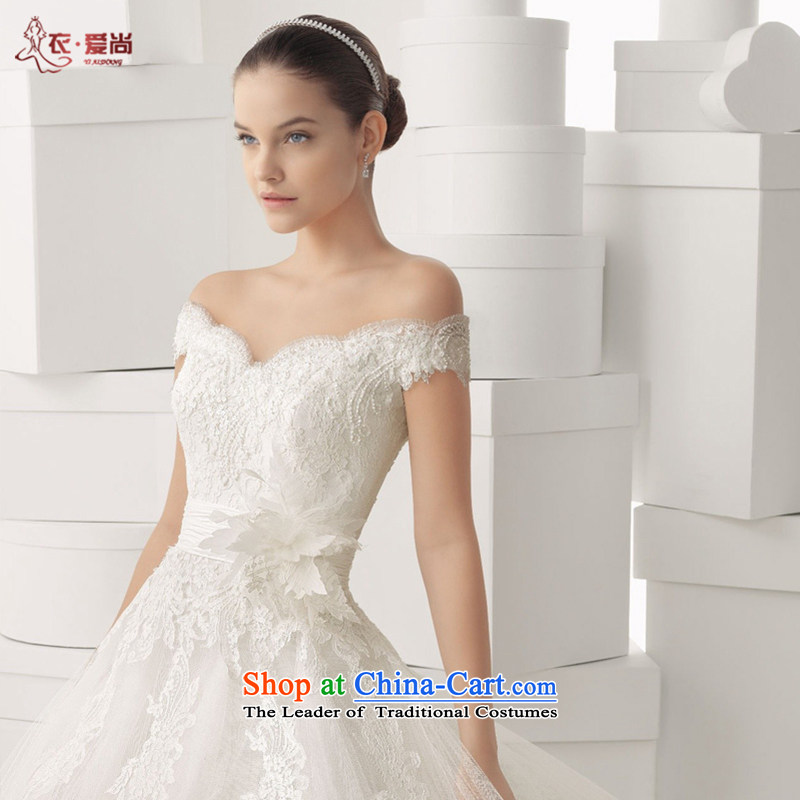 Summer 2015 won the new version of V-Neck shoulders trailing white high-end custom water drilling lace bride wedding dresses large white S