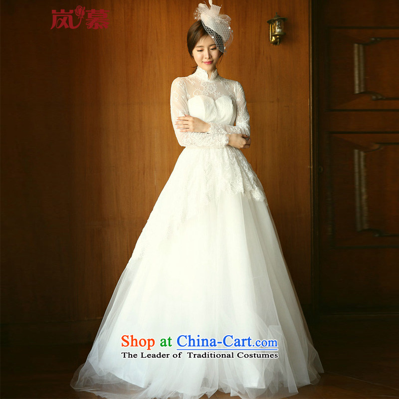 The sponsors of the original designer brands long-sleeved high collar conservative style wedding ceremony of the bride of ivory�L (90 / 74) back and chest