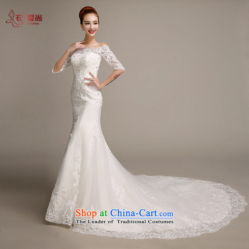 Love is new, Yi 2015 Summer wedding dresses trendy first field shoulder Sau San Korean lace crowsfoot wedding package and in cuff marriages tail wedding dresses female white can be made plus $30 Does Not Return