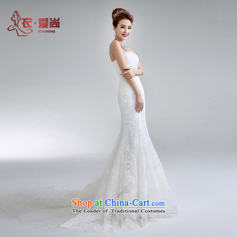 Yi Sang-custom bride and love chest fish tail marriage cable video thin Korea Edition Sau San trailing cable jackets new marriage Summer 2015 New Product White?S