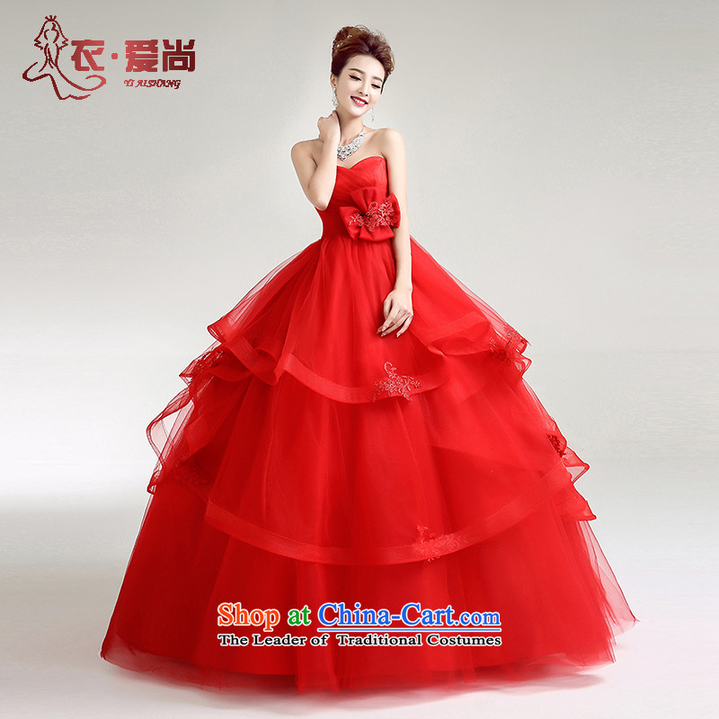 2015 new Korean style wedding dresses Spring) and a pair of red high-waist chest to erase codes strap pregnant women bon bon skirt red can be made plus $30 Does Not Return