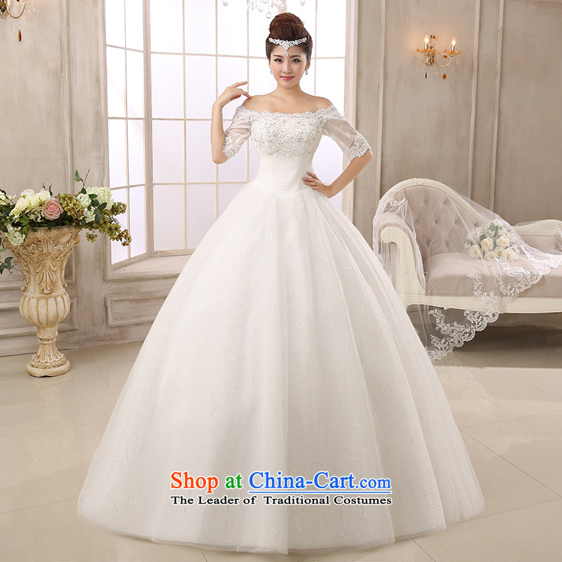Pure Love bamboo yarn 2015 new wedding short-sleeved word shoulder upscale wedding Korean wedding dresses bride to align the wedding photography white XXXL Chun