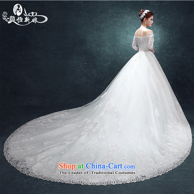 Noritsune bride wedding dresses 2015 new stylish one field wedding tail shoulder larger video thin lace summer edition won the elections?, extra-large tail?fine fabrics as White?XXL