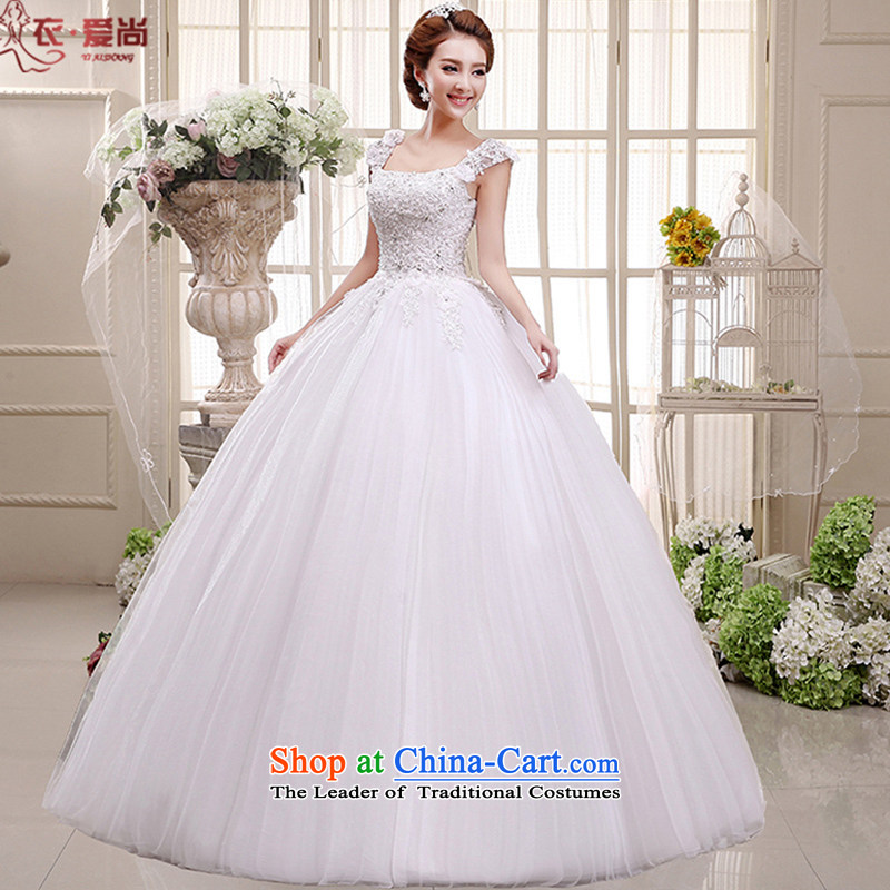In spring and summer 2015 new wedding dress bride wedding dress a field package shoulders lace V-neck to align the Korean style wedding dress female white M can be made of white plus $30 Does Not Return