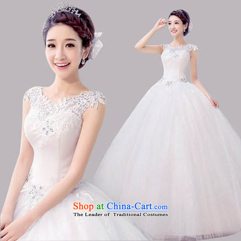 The new 2015 wedding dresses summer Korean minimalist large graphics thin bride to align the word shoulder shoulders wedding spring, white聽L