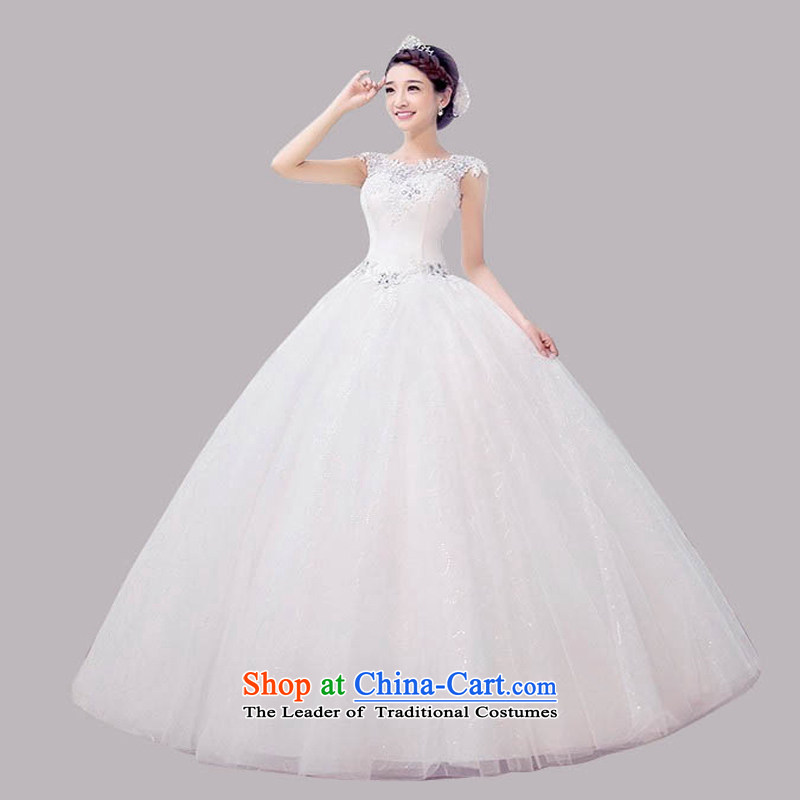The new 2015 wedding dresses summer Korean minimalist large graphics thin bride to align the word shoulder shoulders wedding spring, white , L, pure love bamboo yarn , , , shopping on the Internet