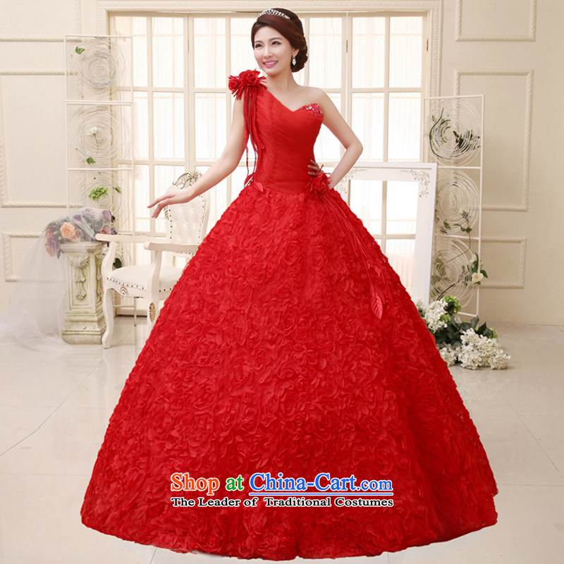 Charlene Choi Ling 2015 new wedding dresses Korean sweet Princess Bride to align the shoulder and chest wedding?HS291?RED?XL