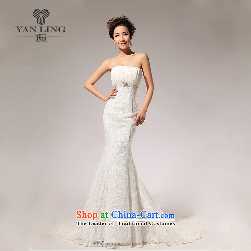 Charlene Choi Ling 2015 new lace alignment of the waist A skirt anointed chest wedding dresses long skirt HS70 White?XL