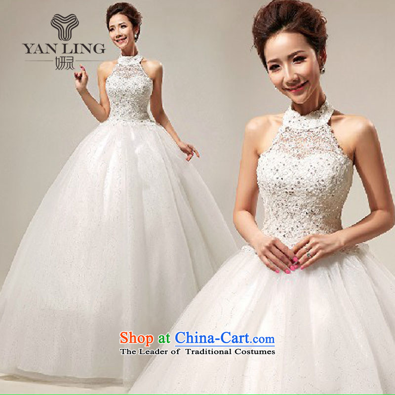 Charlene Choi Ling 2015 wedding dresses new Korean sweet lace princess also wedding Align hook to tie, HS 289 White?XXL