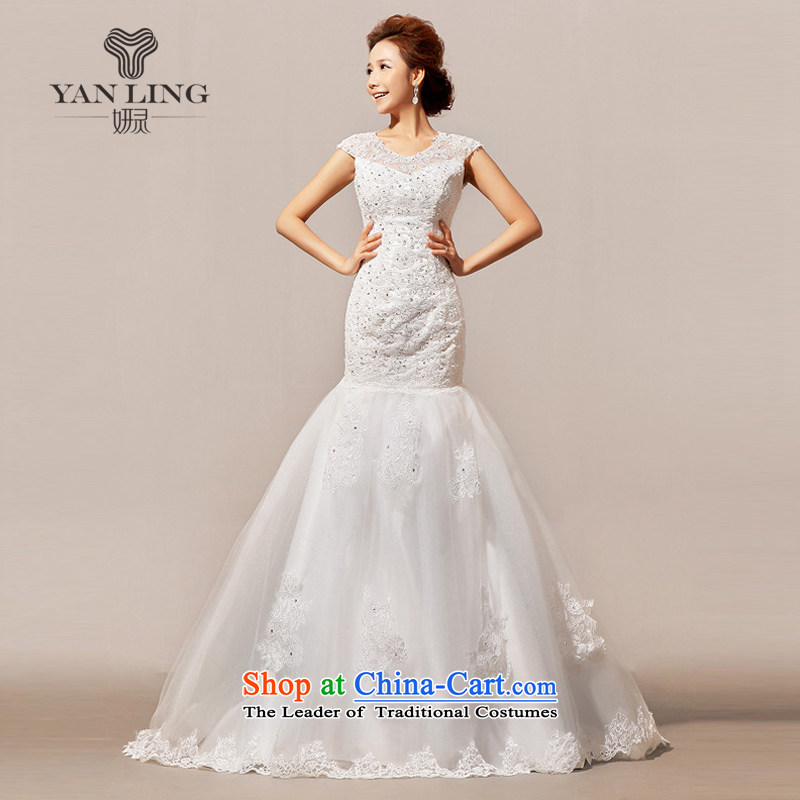 Charlene Choi Ling 2015 new wedding tail winter wedding wedding word?HS136 shoulder?white?L