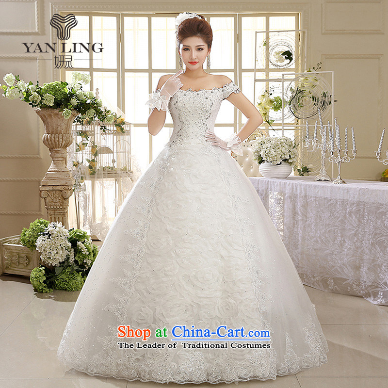 Charlene Choi Ling 2015 new white women wedding dresses Married Quarter Korean word shoulder retro lace, HS595 XXL