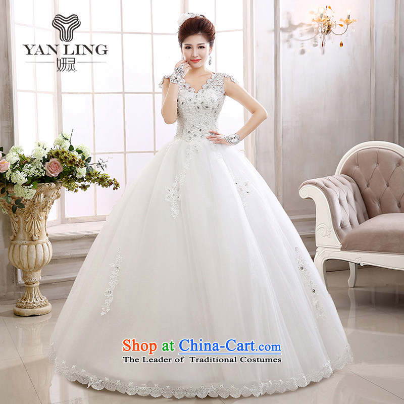 Charlene Choi Ling 2015 new marriages stylish Korean water-soluble lace a field tent skirt brides shoulder wedding HS579 white?S