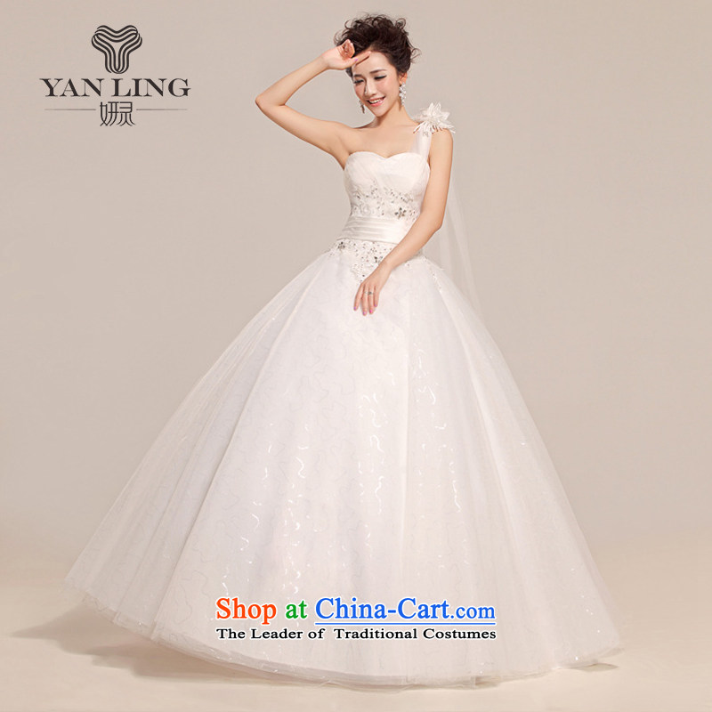 Charlene Choi Ling 2015 new wedding dresses to align the shoulder and chest bride wedding HS509 white?S