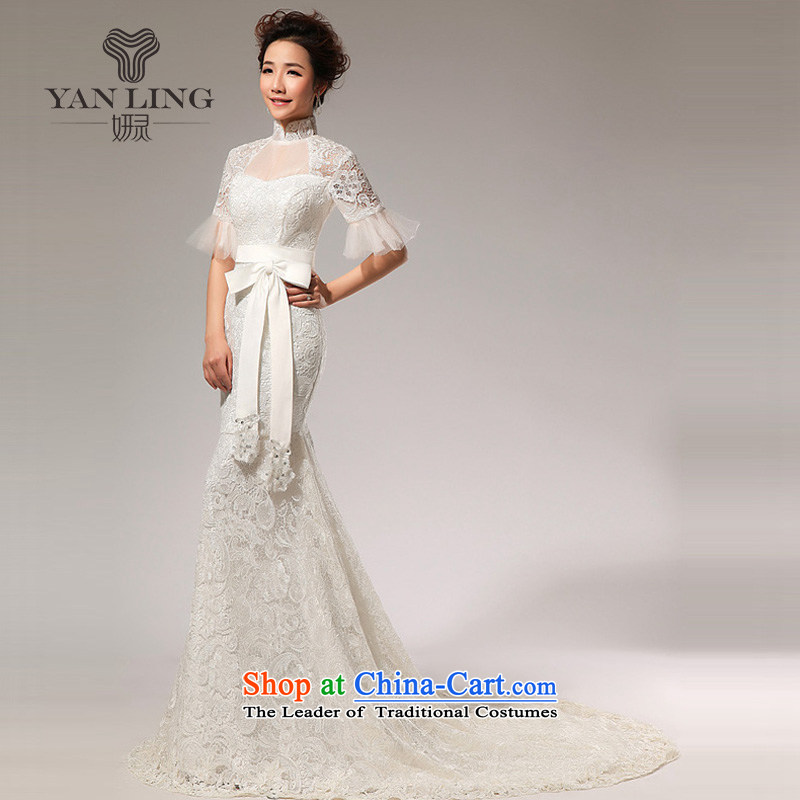 Charlene Choi Ling 2015 New New sexy small in spring and summer crowsfoot/lace tail wedding HS72 white?S