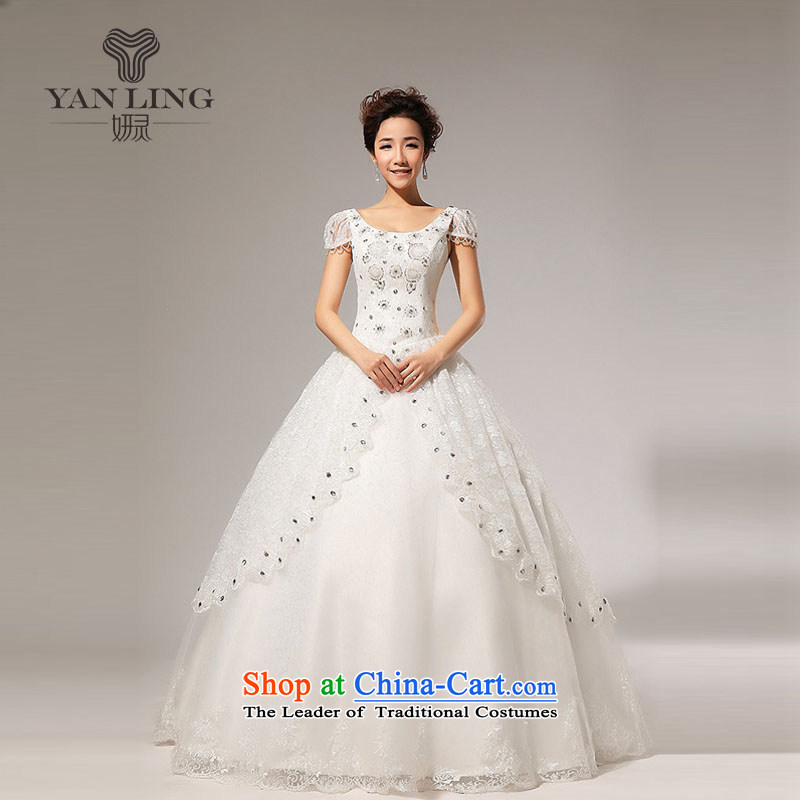 Charlene Choi Ling 2015 new fashion princess bubble cuff bon bon bride diamond wedding dresses HS117 white?L
