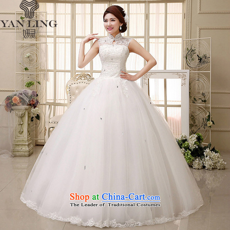 Charlene Choi Ling 2015 new red wedding dresses bride to align graphics thin package shoulder straps lace retro HS348 large white�S