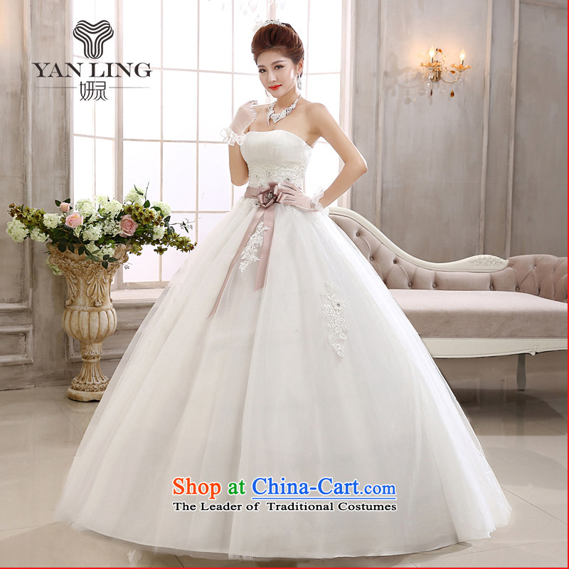 Charlene Choi Ling 2015 new spring wiping the chest bride align white to bow tie pregnant women marry stylish wedding dresses HS558 white�L