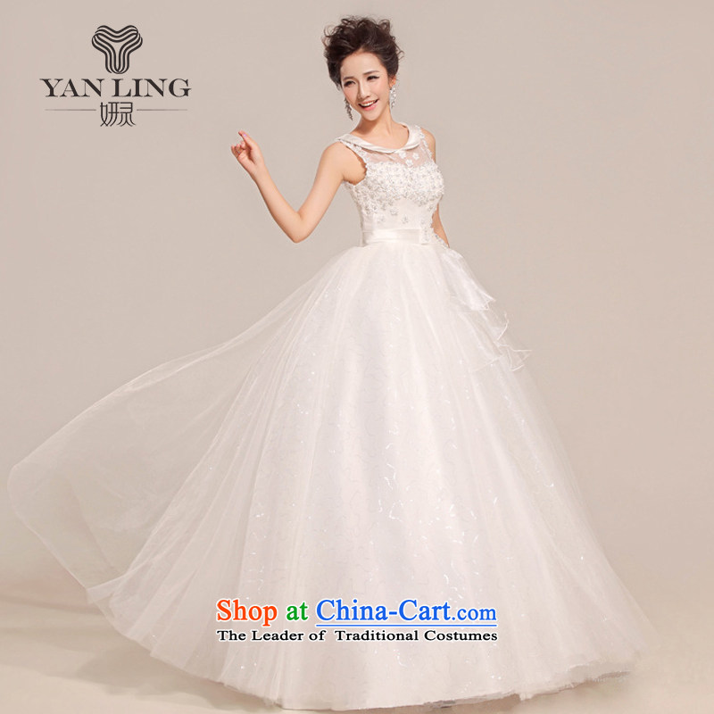 Charlene Choi Ling 2015 new stylish wedding dresses to align the Korean brides thin large Antique Lace shoulders HS391 White?M