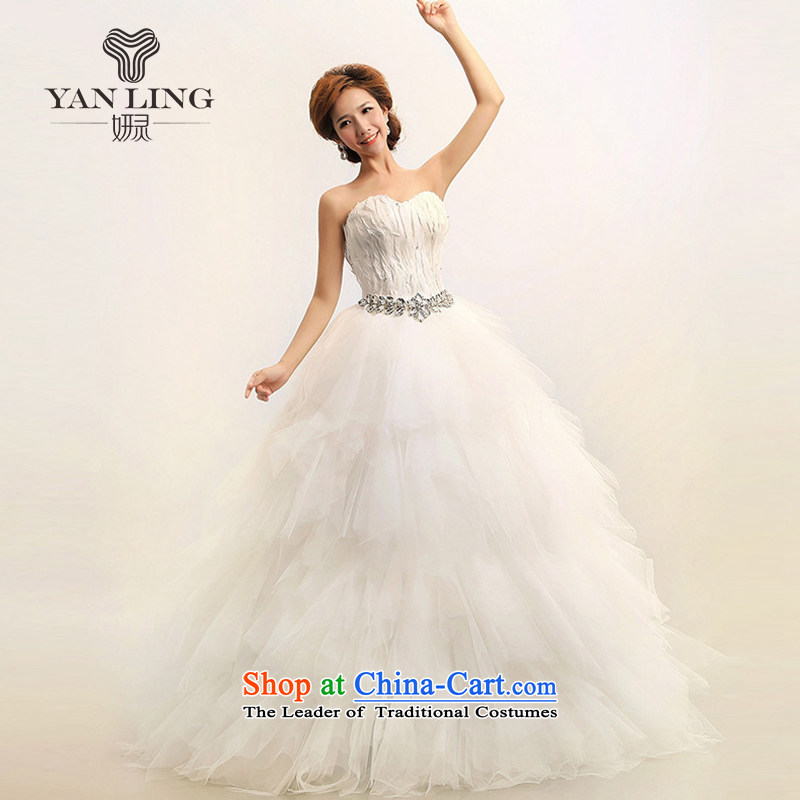 Charlene Choi Ling 2015 new Korean Won-Feather anointed chest Princess Bride marriage wedding dresses?HS164?White?M