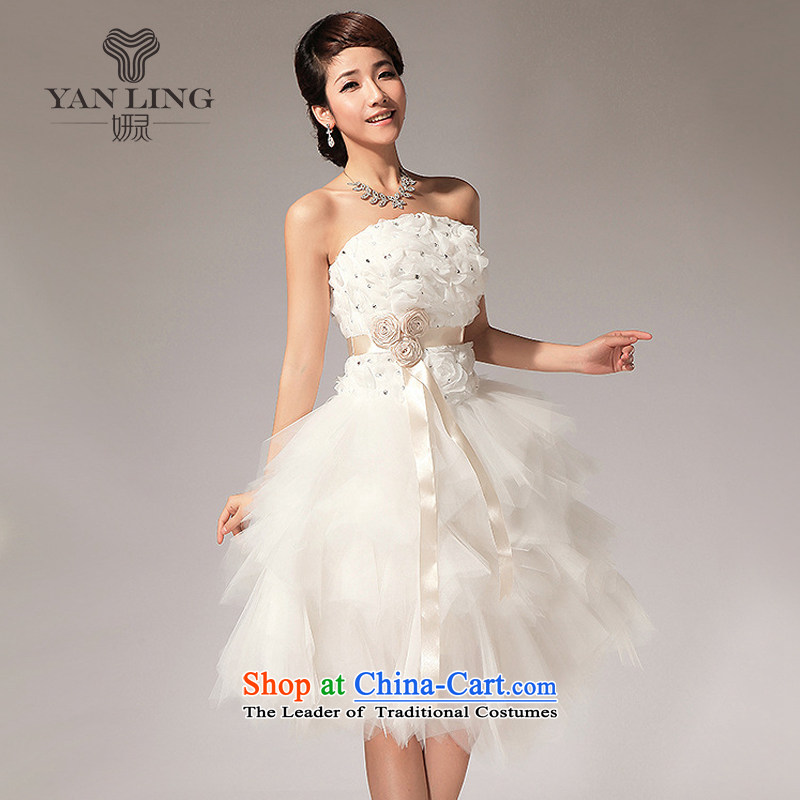 Charlene Choi Ling 2015 new anointed Chest Flower knee sister bridesmaid small dress short skirt LF112 White?M