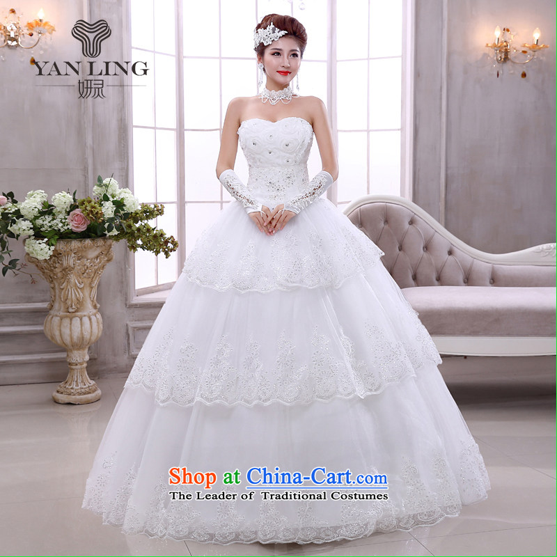 Charlene Choi Ling 2015 Korean brides light white Korean version of V-neck in the spring to align the marriage straps wedding dresses HS524 white?S