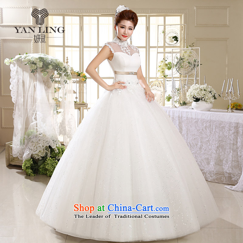 Charlene Choi Ling 2015 Korean Princess white lace retro to align the summer with collar wedding HS537 White?M
