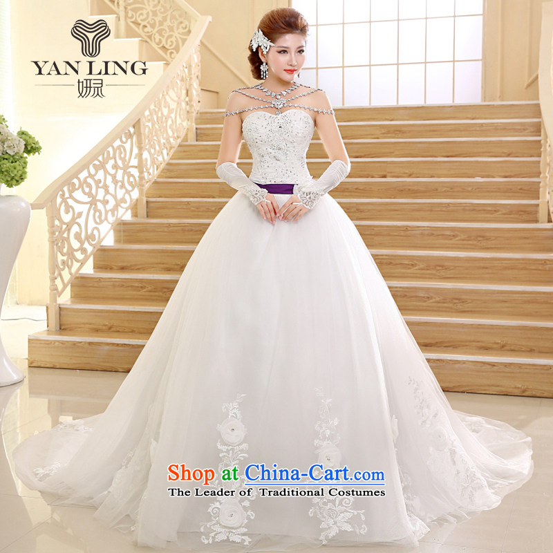 Charlene Choi Ling 2015 Korean Style New high-lumbar bride tail wedding V-neck and chest straps dress HS570 white?L