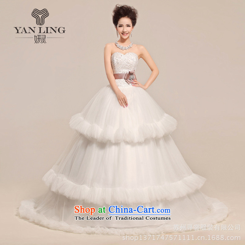 Charlene Choi Ling 2015 new heart anointed Chest Flower waist waves Fung skirt wedding dress White?XL