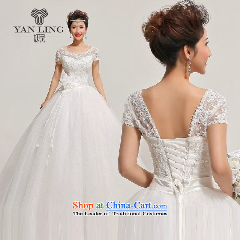 Charlene Choi Ling 2015 new lace a field tent skirt the floral decorations shoulder wedding dresses HS315 white?L