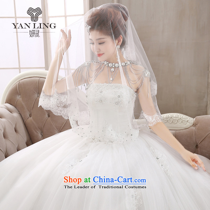 Charlene Choi Ling bridal diamond jewelry Korean wiping the chest wedding dresses to align the new 2015 strap butterfly yarn HS409 marriage white聽L