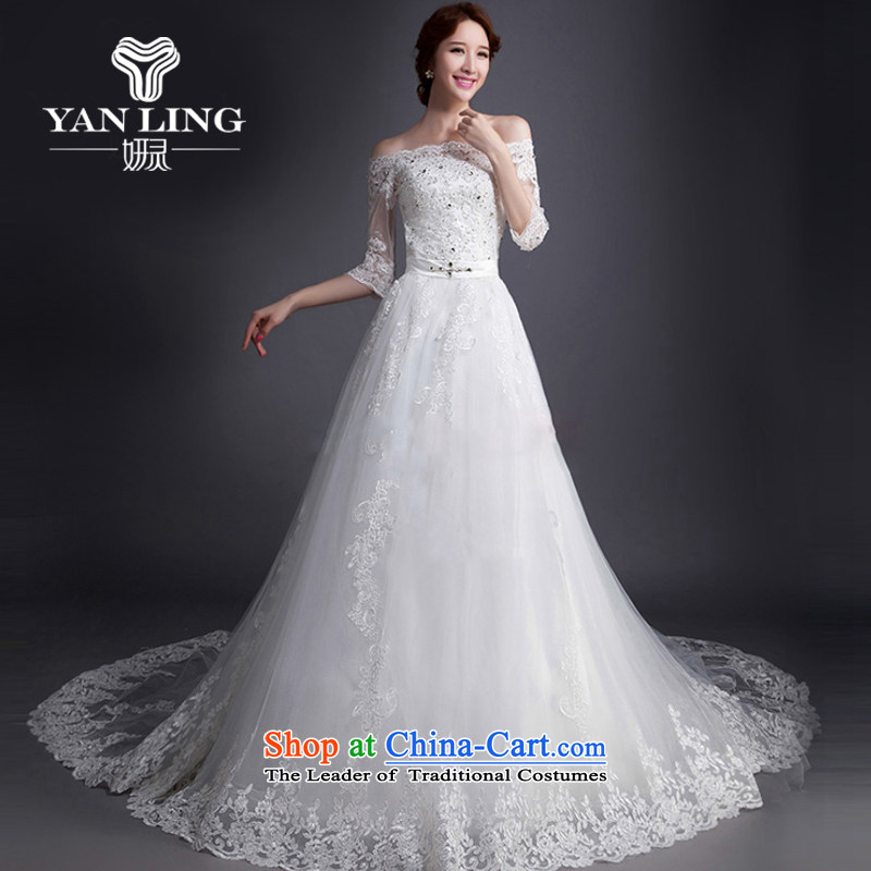 Charlene Choi Ling 2015 Korean New wedding dresses trendy first field shoulder tail wedding 7 cuff lace Sau San White XL