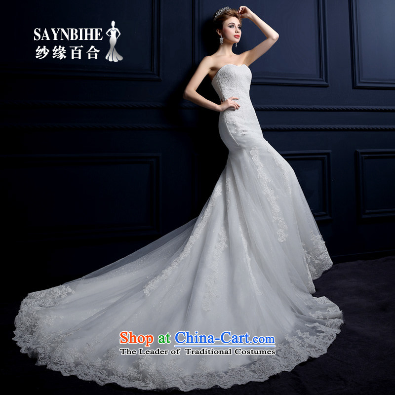 Crowsfoot Wedding 2015 new summer tail Sau San package and wedding sweet elegant crowsfoot anointed chest straps wedding video thin lace straps crowsfoot wedding yarn edge Lily White?L