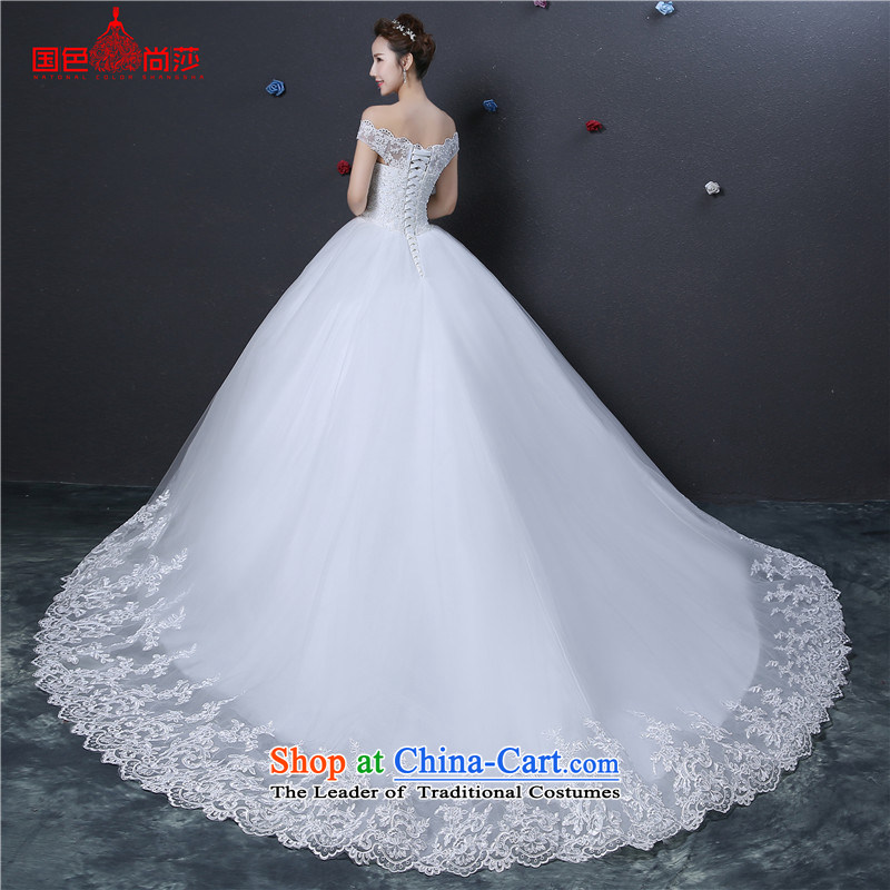 The color is new) 2015 autumn and winter plus the word stylish cotton shoulder to shoulder a bride trailing package strap Sau San video thin wedding dresses?1.2 m tail lace lace?M