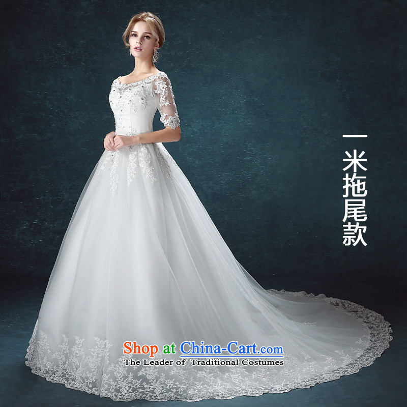 Each of the爊ew spring 2015 Connie stylish Korean tail wedding a field in the shoulder larger cuff lace bride wedding women and one m tail燬