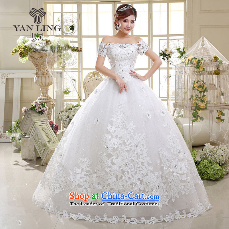 Charlene Choi Ling 2015 wedding dresses new international new strap to align the word shoulder bon bon skirt Princess Bride wedding HS598 S