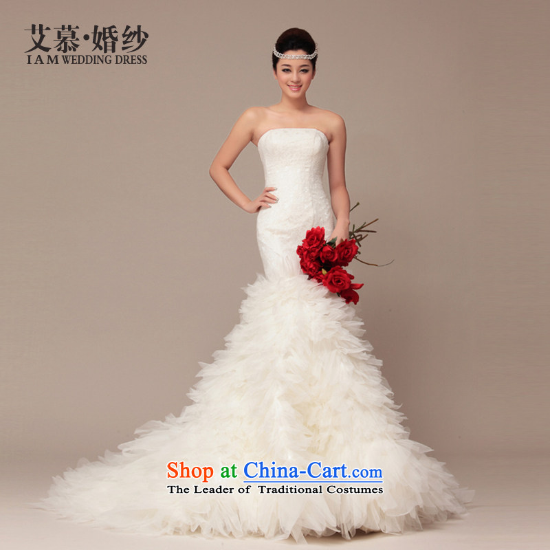 The 2015 autumn HIV new wedding princess lace Korean small white tail anointed chest video thin crowsfoot female wedding dresses feather burrs ivory�L
