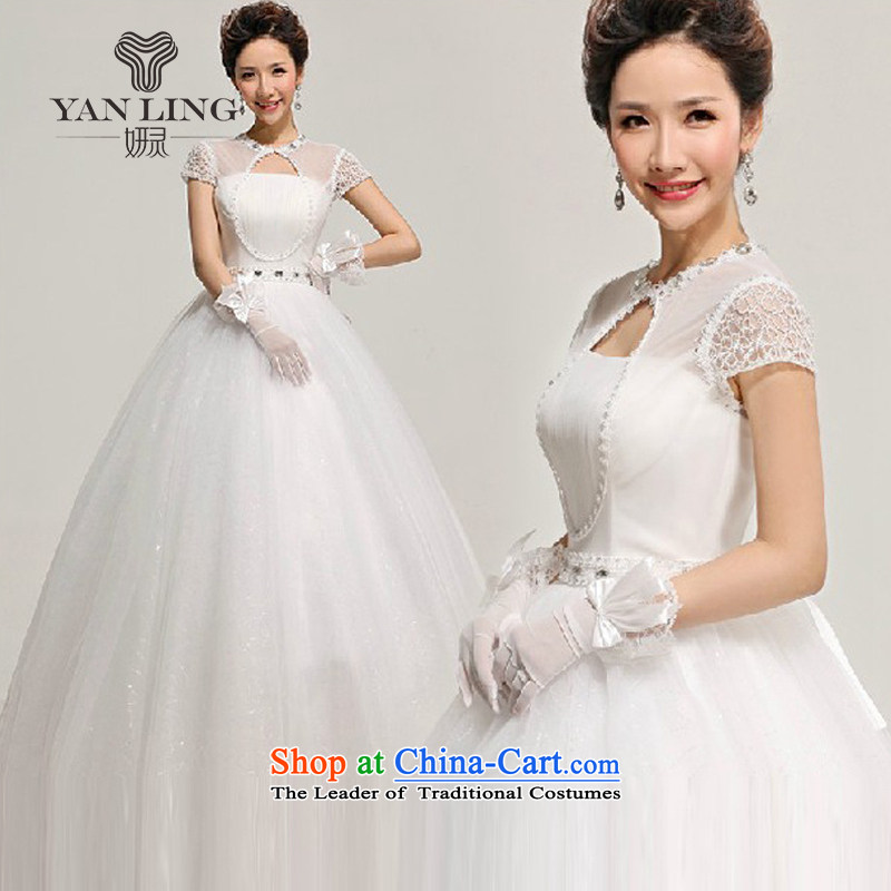 Charlene Choi Ling 2015 new spring and summer Wedding Dress Short-sleeved grid packages to align the shoulder bon bon slotted shoulder wedding HS312 S