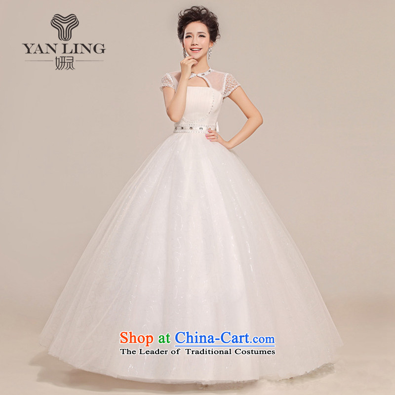Charlene Choi Ling 2015 new spring and summer Wedding Dress Short-sleeved grid packages to align the shoulder bon bon slotted shoulder wedding HS312 S, Charlene Choi spirit has been pressed shopping on the Internet