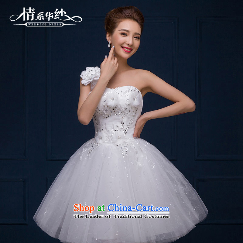 The feelings of Chinese�New Year 2015 yarn marriages wedding dresses Dress Short stylish small dress autumn and winter female White�XL