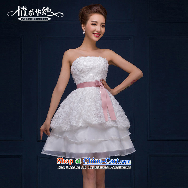 The feelings of Chinese�New Year 2015 yarn marriages short of wedding fashion and Chest Flower dresses small dress autumn and winter female white made size does not accept return