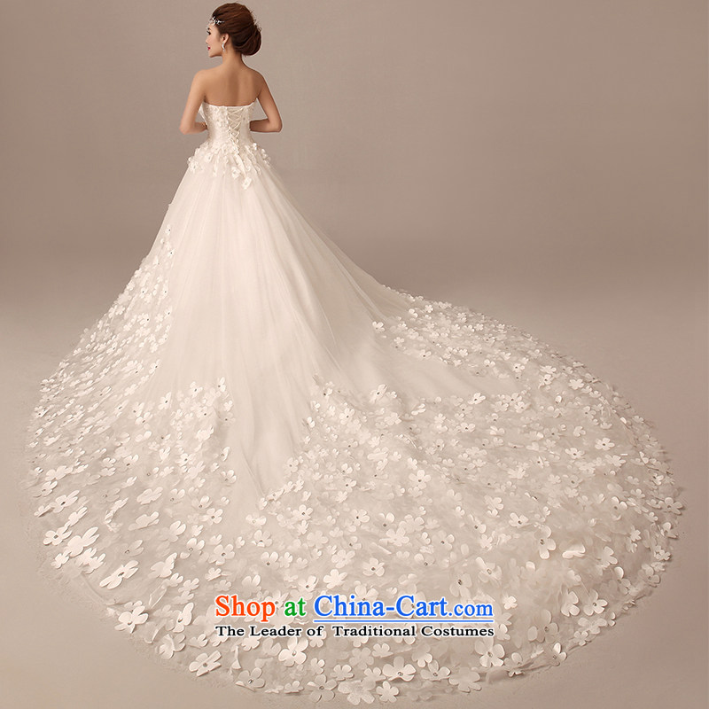 2015 Spring/Summer new Korean chest to bride wiping the wedding dress long tail large flower large tail Sau San white?XS