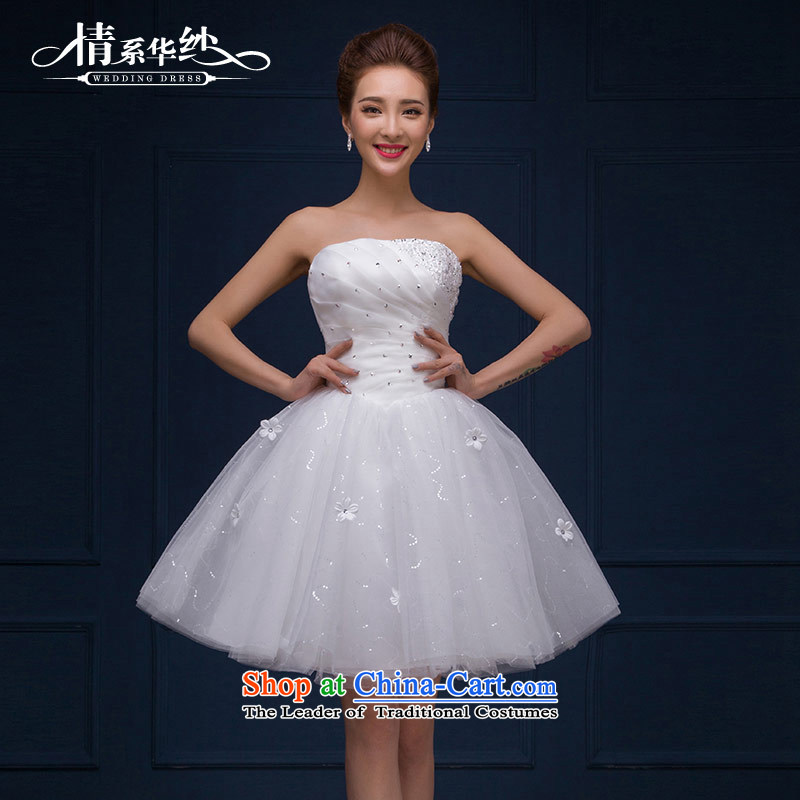 The feelings of Chinese?New Year 2015 yarn marriages wedding dresses and white short of chest diamond evening dress autumn and winter female white?M