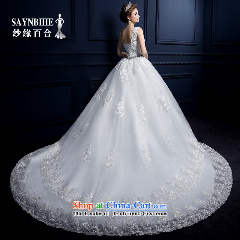 Wedding dress 2015 new word shoulder wedding tail to align the shoulder straps wedding lace sweet big tail wedding anointed chest to shoulder wedding dress bon bon White聽XL