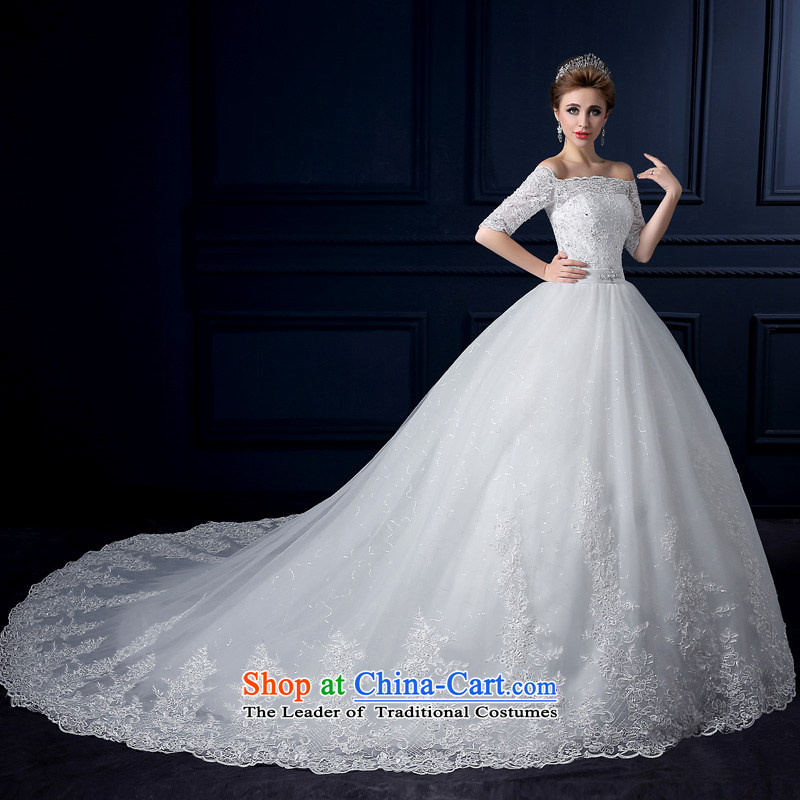The leading edge of the new summer 2015, Lily of the word shoulder tail wedding alignment with chest wedding Korean-style luxury in cuff tail wedding video thin lace marriages bon bon skirt white tailor Advanced Customization