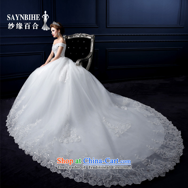 The leading edge of the Formosa lily wedding dresses 2015 winter new word to align the shoulder Wedding Fashion Korean shoulders tail wedding band video thin lace bride wedding dress bon bon white streak L