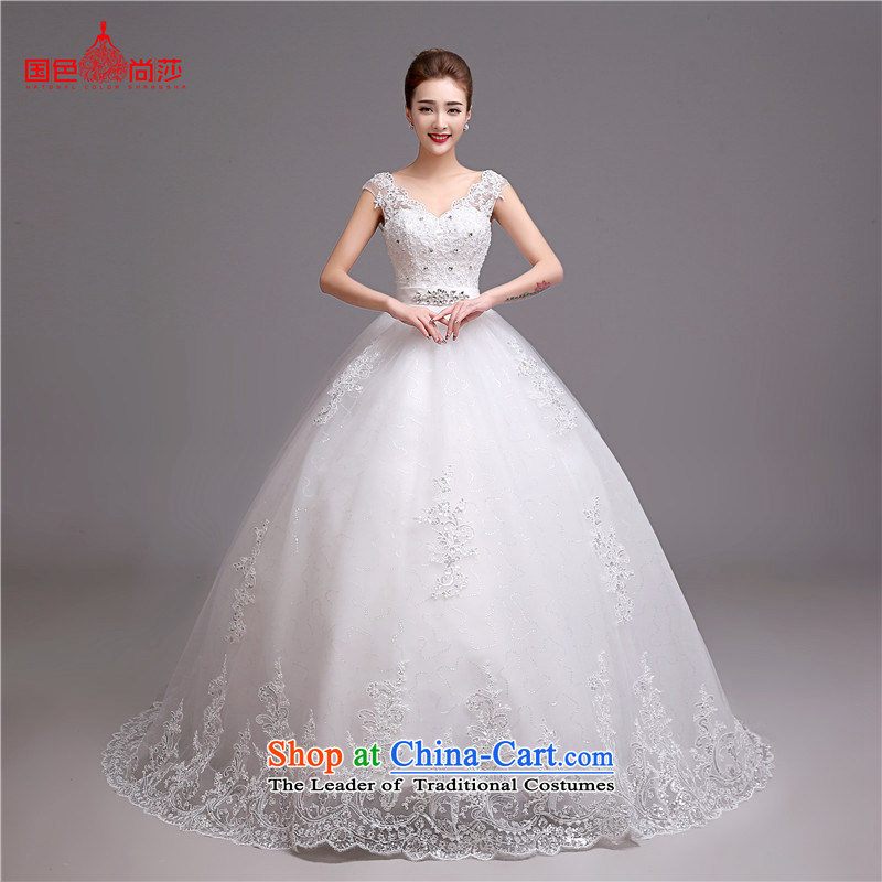 Wedding dress 2015 Summer Korean-style New v-neck a field shoulder length tail bride stylish wedding video thin white wedding to align the customizable could not return the Oh