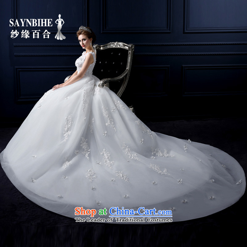 The leading edge of the Formosa lily wedding dresses 2015 new autumn and winter field shoulder tail wedding Korean lace align to wedding marriages sweet anointed chest video thin bon bon skirt white streak?M