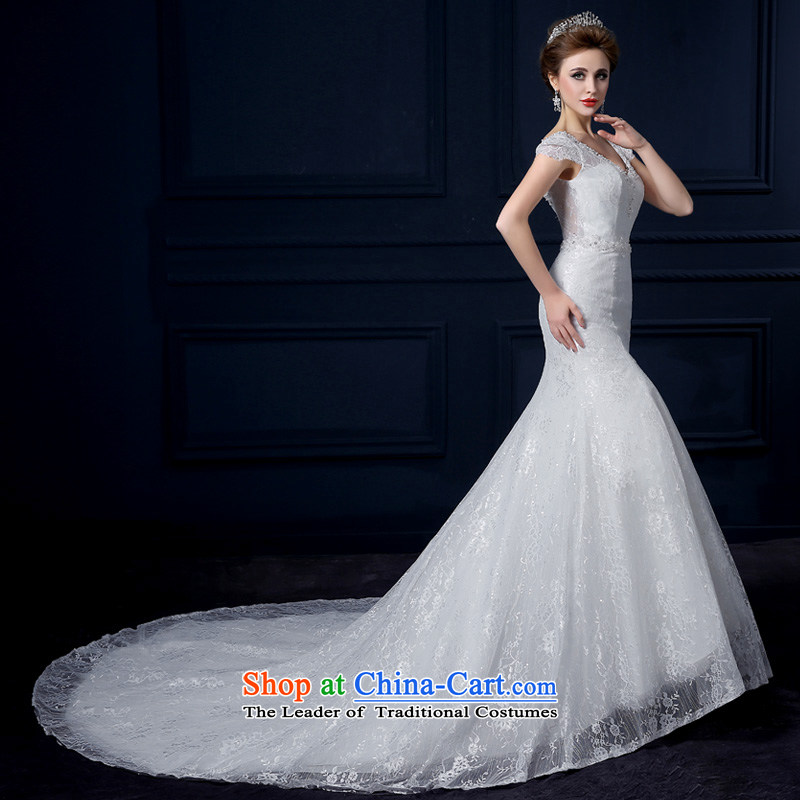 The leading edge of the Formosa lily wedding dresses 2015 new autumn and winter field shoulder crowsfoot wedding Korean lace tail wedding Sau San video thin sweet straps to erase chest to wedding White XXL