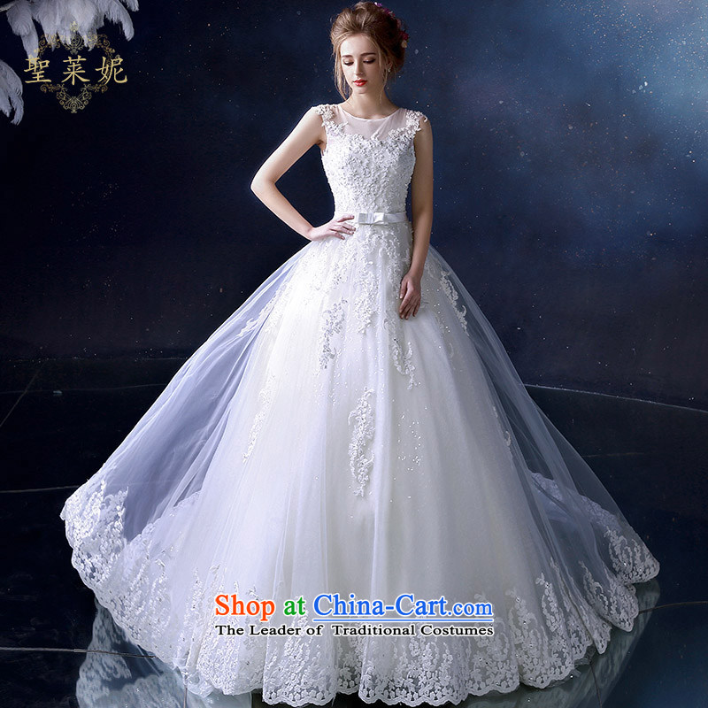 The Holy her wedding dresses continental new stylish shoulders lace tail, married to straighten the large white wedding dress White?XL